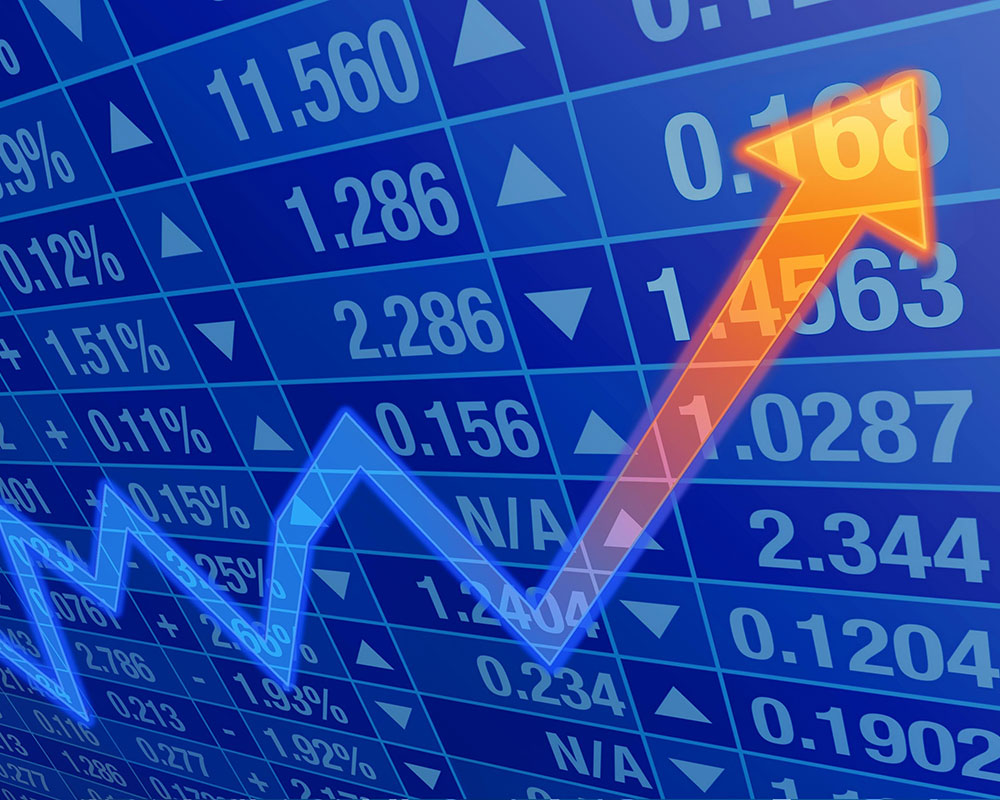 Appreciated Stock - Photo of a stock market chart with an up arrow