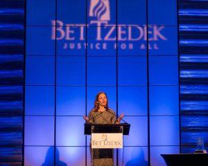 Special Events - Photo of Jessie Kornberg, CEO of Bet Tzedek, speaking at one of Bet Tzedek's special events
