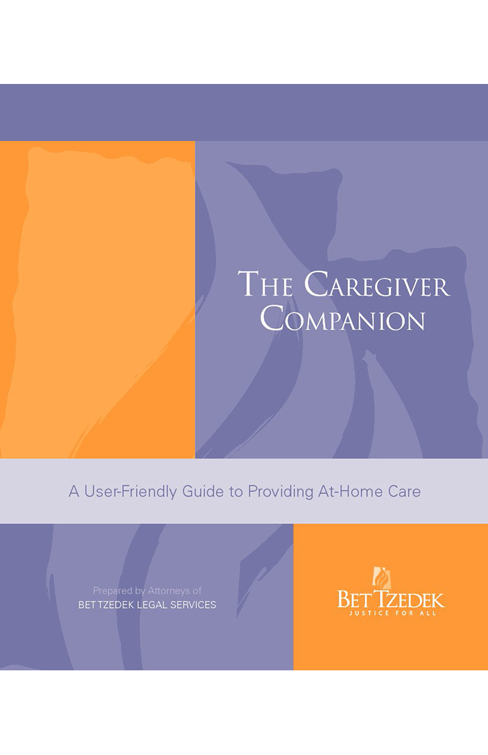 Cover Photo of the Bet Tzedek brochure, The Caregiver Companion: A User-Friendly Guide to Providing At-Home Care